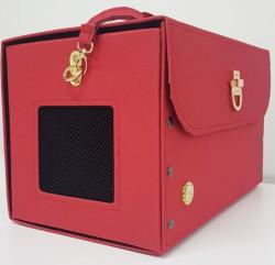 Diğer / Other - Flybag Kedi ve Küçük Irk Köpek Kutu Taşıma Çantası Kırmızı 24x24x40 Cm