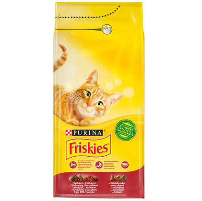 Friskies Kırmızı Et Tavuk ve Sebzeli Kedi Maması 10 Kg + 10 Adet Temizlik Mendili