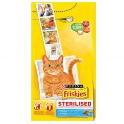 Friskies - Friskies Sterilised Somon Kısırlaştırılmış Kedi Maması 10 Kg+10 Adet Temizlik Mendili