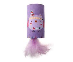 Gigwi - Gigwi 7222 Happy Indian Melody Baykuş Sesli Gizli Doğal Tüylü Oyuncaklı Kedi Oyun Silindiri