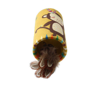 Gigwi 7223 Happy Indian Melody Maymun Sesli Gizli Doğal Tüylü Oyuncaklı Kedi Oyun Silindiri