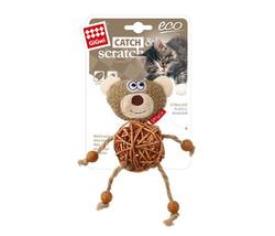 Gigwi - Gigwi 7265 Catch Scratch Eco Line Ahşap Gövdeli Catnipli Peluş Çıngıraklı Ayı Kedi Oyuncağı