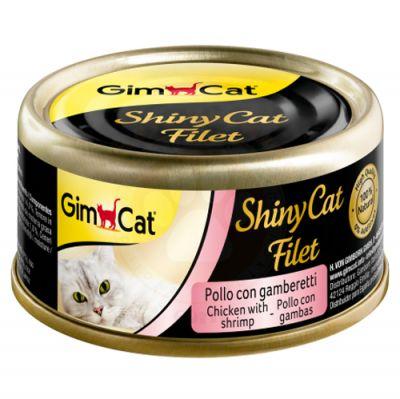GimCat ShinyCat Tavuk ve Karides Kıyılmış Fileto Kedi Konservesi 70 Gr