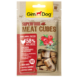 GimDog - GimDog Meat Cubes Kızılcıklı ve Biberiyeli Tavuk Köpek Ödülü 40 Gr