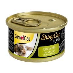 GimCat - Gimcat Shinycat Ton Balıklı Çimenli Jöleli Kedi Konservesi 70 Gr