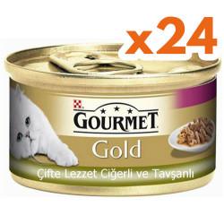 Gourmet - Gourmet Gold Çifte Lezzet Ciğer ve Tavşanlı Kedi Maması 85 Gr-(24 Adet)