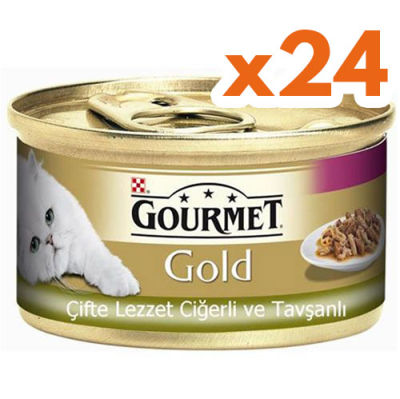 Gourmet Gold Çifte Lezzet Ciğer ve Tavşanlı Kedi Maması 85 Gr - (24 Adet)