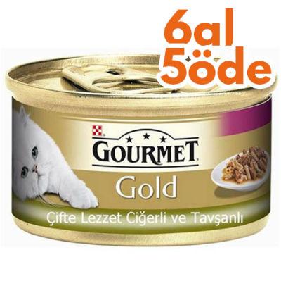 Gourmet Gold Çifte Lezzet Ciğer ve Tavşanlı Kedi Maması 85 Gr - 6 Al 5 Öde