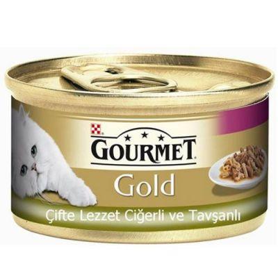 Gourmet Gold Çifte Lezzet Ciğer ve Tavşanlı Kedi Maması 85 Gr