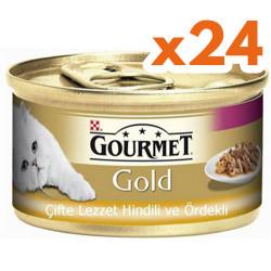 Gourmet - Gourmet Gold Çifte Lezzet Hindi ve Ördekli Kedi Konservesi 85 Gr-(24 Adet)