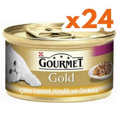 Gourmet Gold Çifte Lezzet Hindi ve Ördekli Kedi Konservesi 85 Gr - (24 Adet)