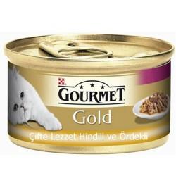 Gourmet - Gourmet Gold Çifte Lezzet Hindi ve Ördekli Kedi Konservesi 85 Gr