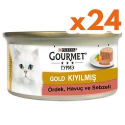 Gourmet - Gourmet Gold Kıyılmış Ördek ve Sebzeli Kedi Konservesi 85 Gr-(24 Adet)