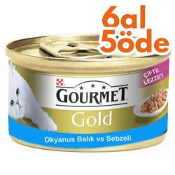 Gourmet - Gourmet Gold Okyanus Balıklı ve Sebzeli Kedi Maması 85 Gr - 6 Al 5 Öde