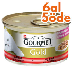 Gourmet - Gourmet Gold Parça Et Soslu Sığır Etli Tavuklu Kedi Konservesi 85 Gr-6 Al 5 Öde