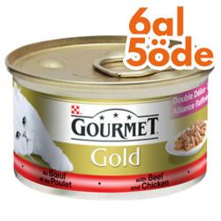 Gourmet - Gourmet Gold Soslu Sığır Etli Tavuklu Kedi Konservesi 85 Gr-6 Al 5 Öde