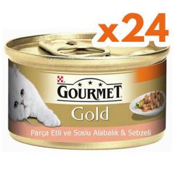 Gourmet - Gourmet Gold Parça Etli Soslu Alabalık Sebze Kedi Konservesi 85 Gr-(24 Adet)