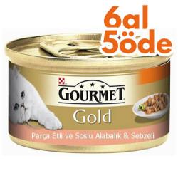 Gourmet - Gourmet Gold Parça Etli Soslu Alabalık Sebzeli Kedi Konservesi 85 Gr-6 Al 5 Öde