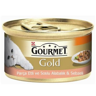 Gourmet Gold Parça Etli Soslu Alabalık Sebzeli Kedi Konservesi 85 Gr