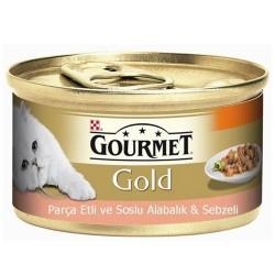 Gourmet - Gourmet Gold Parça Etli Soslu Alabalık Sebzeli Kedi Konservesi 85 Gr