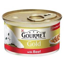 Gourmet - Gourmet Gold Parça Etli Soslu Sığır Etli Kedi Konservesi 85 Gr