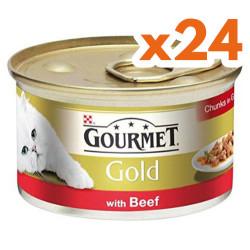 Gourmet - Gourmet Gold Parça Etli Soslu Sığır Etli Kedi Konservesi 85 Gr - (24 Adet)