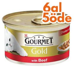 Gourmet - Gourmet Gold Parça Etli Soslu Sığır Etli Kedi Konservesi 85 Gr - 6 Al 5 Öde