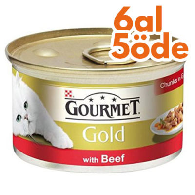 Gourmet Gold Parça Etli Soslu Sığır Etli Kedi Konservesi 85 Gr - 6 Al 5 Öde