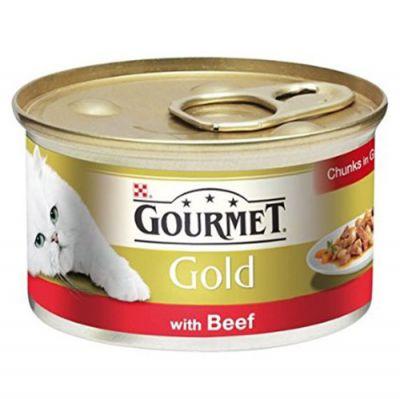 Gourmet Gold Parça Etli Soslu Sığır Etli Kedi Konservesi 85 Gr