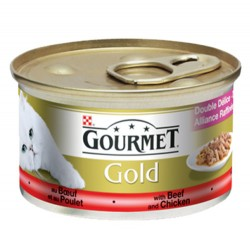 Gourmet - Gourmet Gold Soslu Sığır Etli Tavuklu Kedi Konservesi 85 Gr