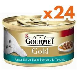 Gourmet - Gourmet Gold Parça Etli Soslu Somon ve Tavuk Kedi Konservesi 85 Gr - (24 Adet)