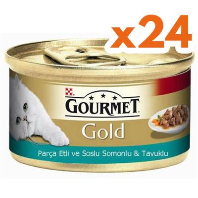 Gourmet Gold Parça Etli Soslu Somon ve Tavuk Kedi Konservesi 85 Gr - (24 Adet)