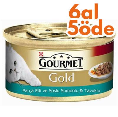 Gourmet Gold Parça Etli Soslu Somon ve Tavuk Kedi Konservesi 85 Gr - 6 Al 5 Öde