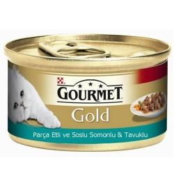 Gourmet - Gourmet Gold Parça Etli Soslu Somon ve Tavuk Kedi Konservesi 85 Gr