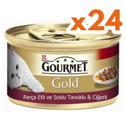 Gourmet - Gourmet Gold Parça Etli Soslu Tavuk Ciğerli Kedi Konservesi 85 Gr-(24 Adet)