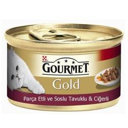 Gourmet - Gourmet Gold Parça Etli Soslu Tavuk Ciğerli Kedi Konservesi 85 Gr