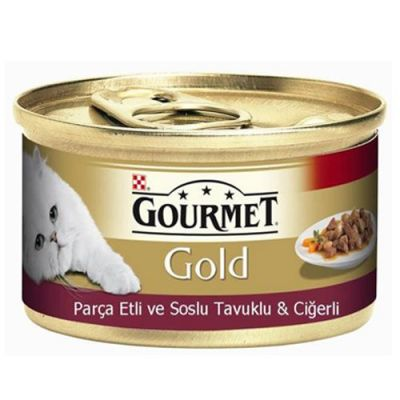 Gourmet Gold Parça Etli Soslu Tavuk Ciğerli Kedi Konservesi 85 Gr