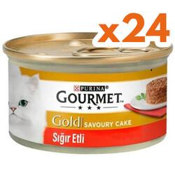 Gourmet - Gourmet Gold Savoury Cake Sığır Eti Kedi Konservesi 85 Gr - ( 24 Adet )