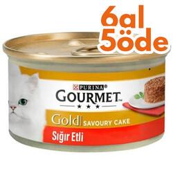 Gourmet - Gourmet Gold Savoury Cake Sığır Eti Kedi Konservesi 85 Gr-6 Al 5 Öde