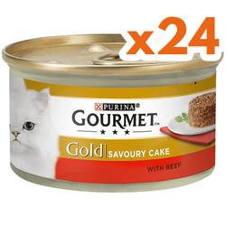 Gourmet - Gourmet Gold Savoury Cake Sığır Eti ve Domatesli Kedi Konservesi 85 Gr - ( 24 Adet )