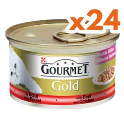 Gourmet - Gourmet Gold Soslu Sığır Etli Tavuklu Kedi Konservesi 85 Gr-(24 Adet)