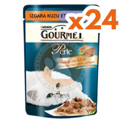 Gourmet - Gourmet Perle Izgara Kuzu Etli ve Hindili Yaş Mama 85 Gr - 24 Adet