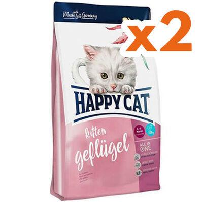 Happy Cat Kitten Kümes Hayvanı ve Somonlu Yavru Kedi Maması 300 + 300 Gr + 2 Adet Yaş Mama