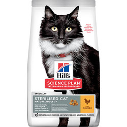Hills - Hills 7+ Kısırlaştırılmış Tavuklu Yaşlı Kedi Maması 1,5 Kg+5 Adet Temizlik Mendili