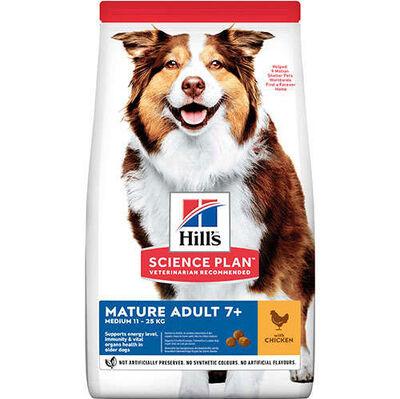 Hills Mature 7+ Tavuklu Orta Irk Yaşlı Köpek Maması 2,5 Kg + 5 Adet Temizlik Mendili