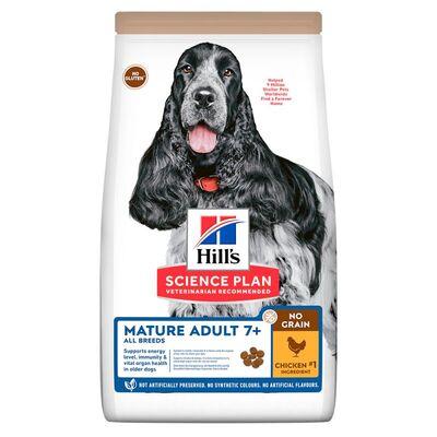 Hills No Grain Mature 7+ Tavuk Etli Yaşlı Tahılsız Köpek Maması 12 Kg + 5 Temizlik Mendili