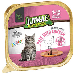 Jungle - Jungle Junior Süt ve Tavuk Etli Ezme/Pate Yavru Kedi Yaş Maması 100 Gr