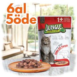 Jungle - Jungle Pouch Adult Biftekli Yaş Yetişkin Kedi Maması 100 Gr - 6 Al 5 Öde