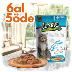 Jungle - Jungle Pouch Adult Somonlu Yaş Yetişkin Kedi Maması 100 Gr - 6 Al 5 Öde