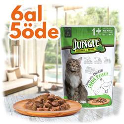Jungle - Jungle Pouch Adult Tavuklu Yaş Yetişkin Kedi Maması 100 Gr - 6 Al 5 Öde